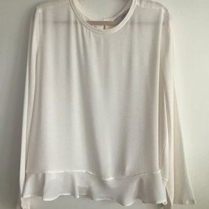 Loft Cream Blouse with Ruffle Hem Size XXL